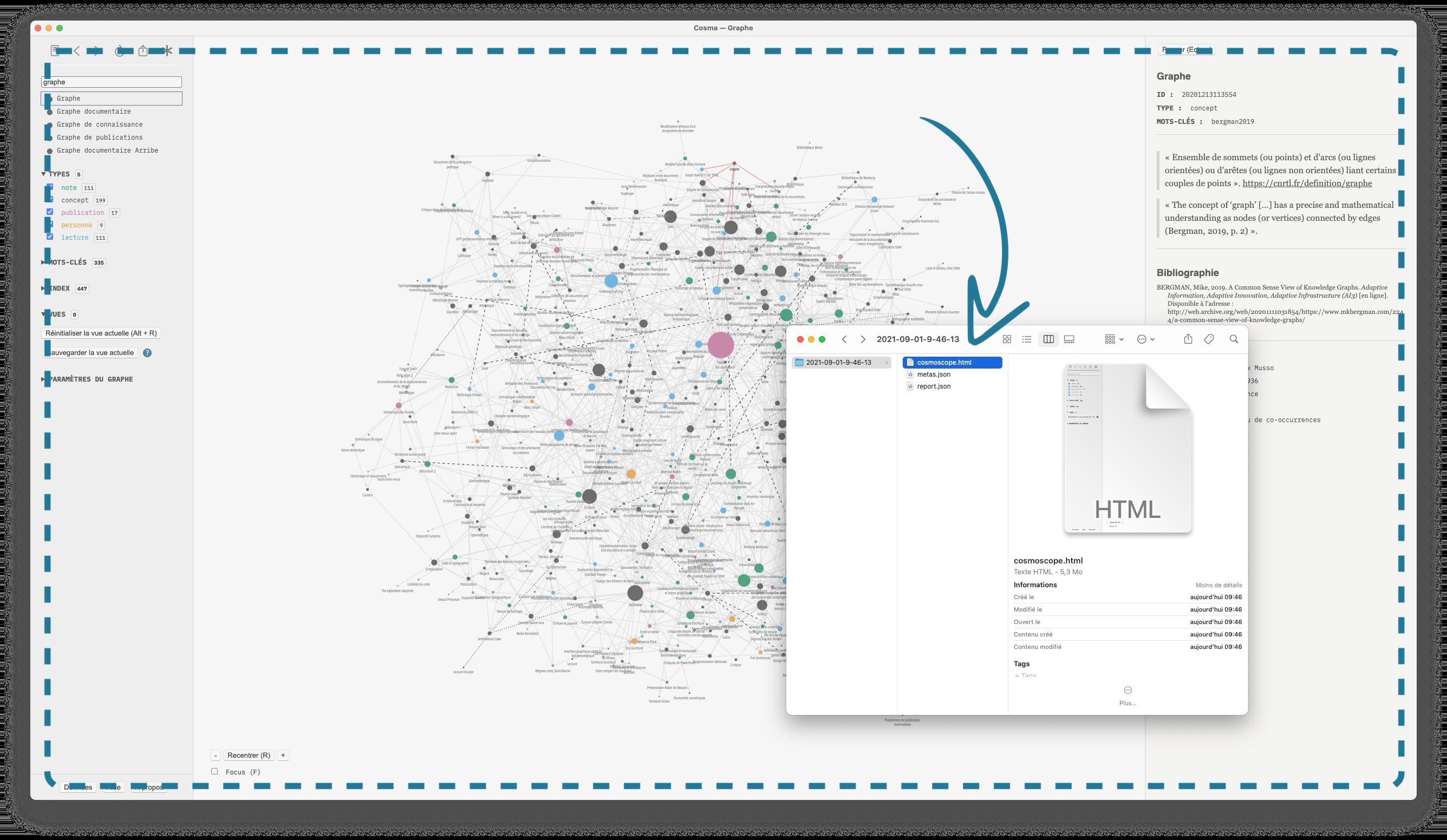 Le cosmoscope au cœur de Cosma: un fichier HTML autonome.
