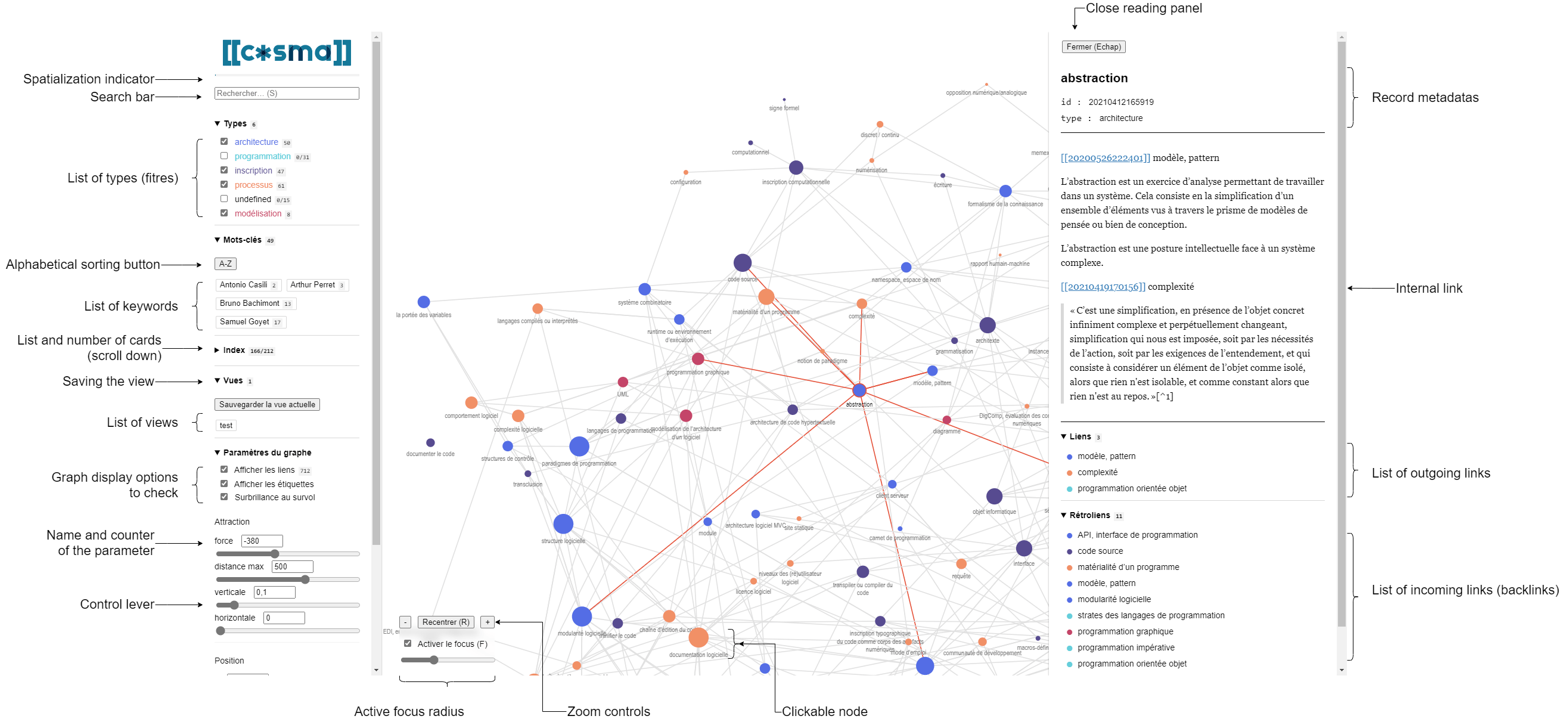 Interface of Cosma (click on the image to extend it)